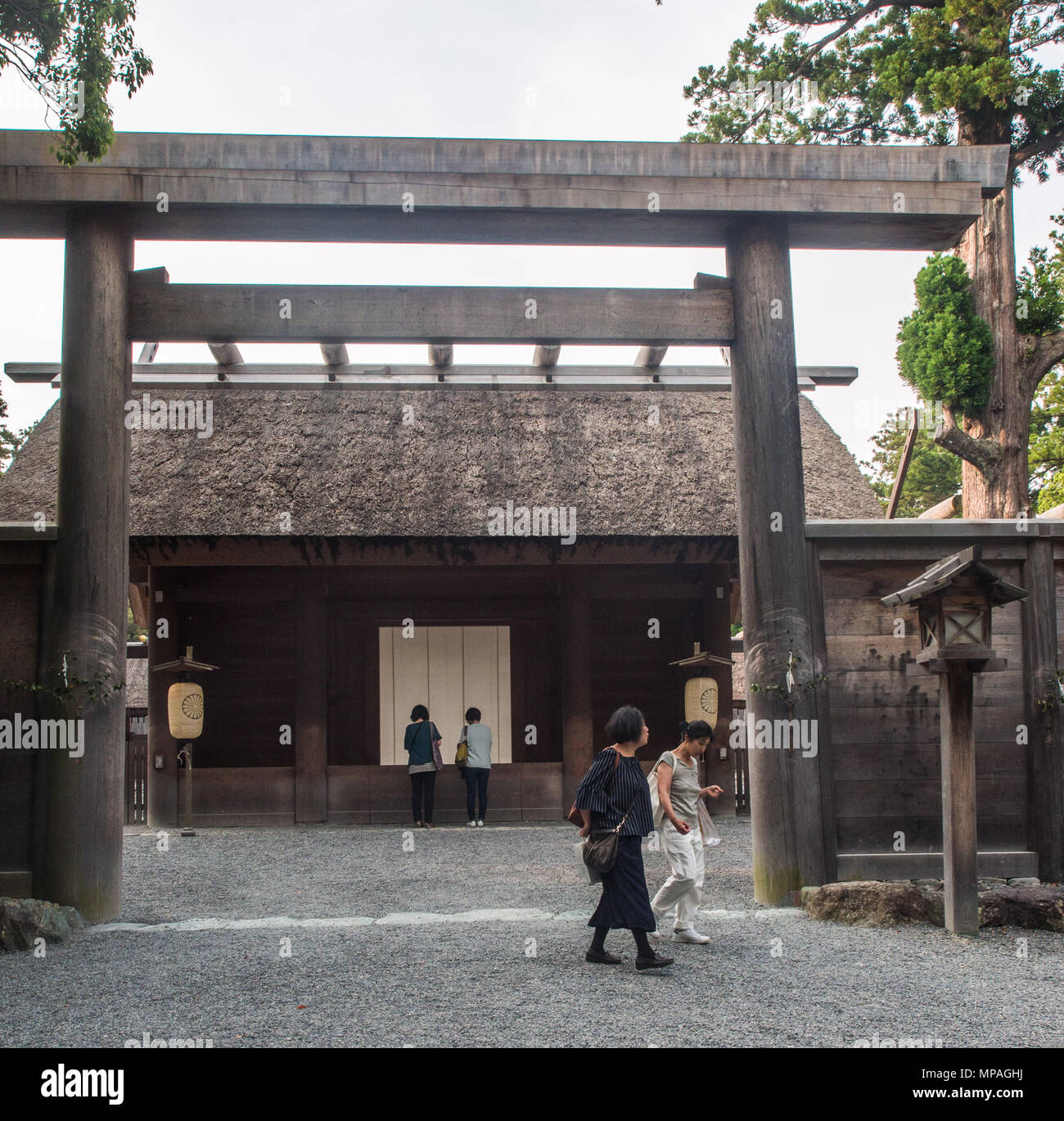 Entrance to Goshoden, the main sanctuary of Geku, showing the place where ordinary visitors have access and may pray. - Stock Image