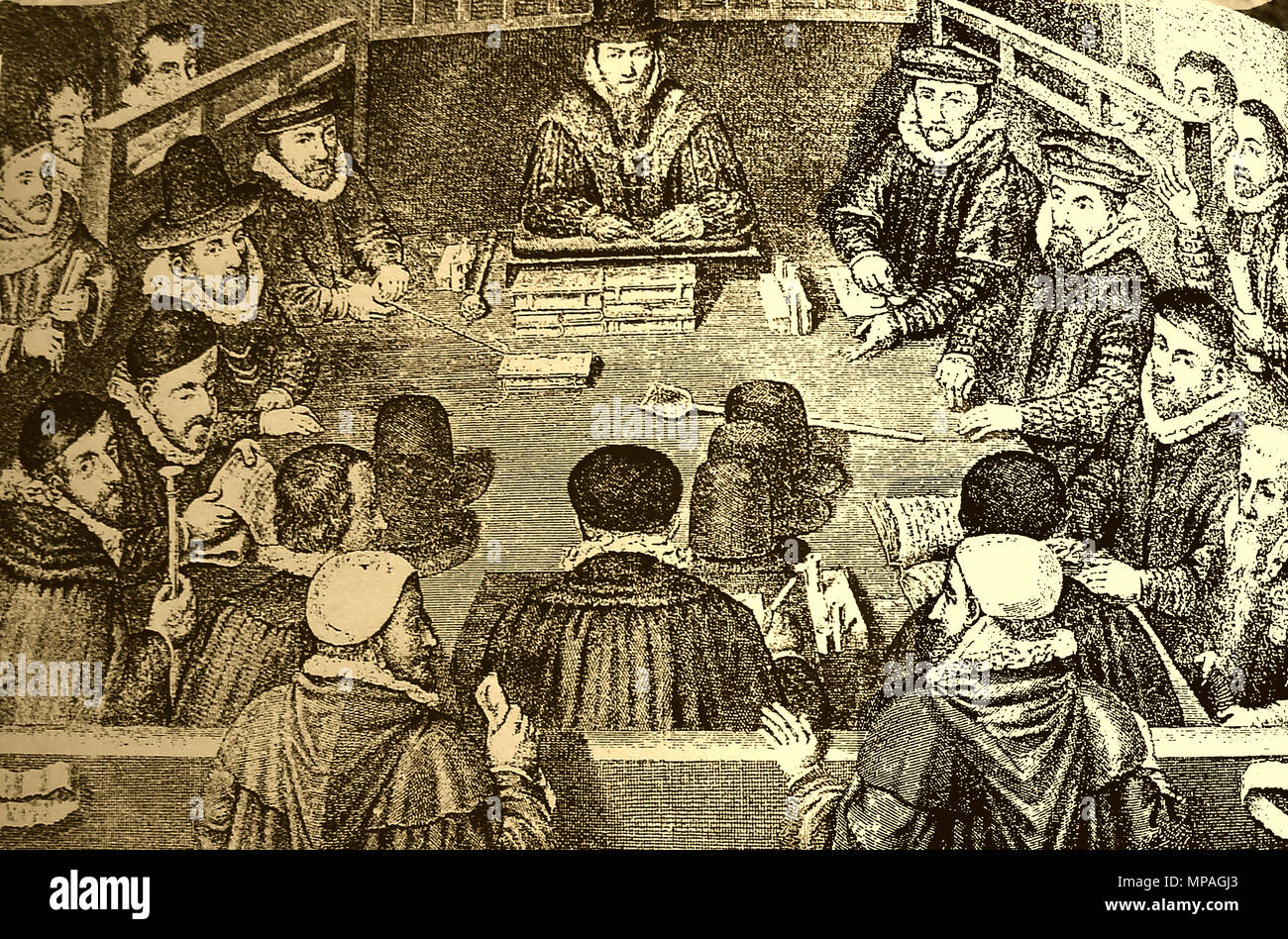 1540's in England. An assembly of the Court of Wards & Liveries (Reign of Henry VIII) - Stock Image