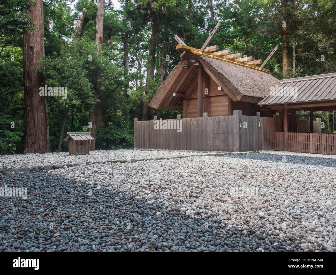 Kaze-no-miya subordinate shrine with oi-ya hut in kodenchi area, Geku, Ise Jingu, Mie, Japan - Stock Image