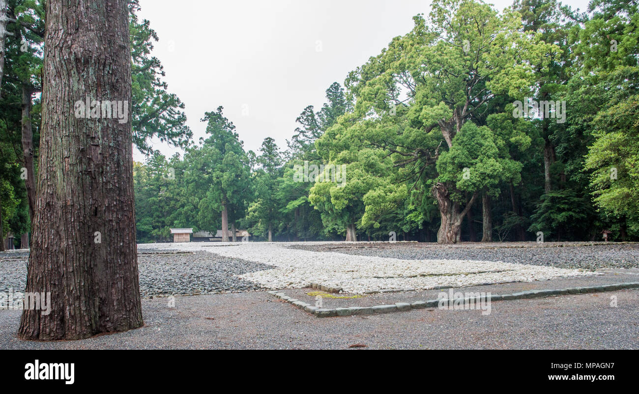 Kodenchi and Oi-ya building containg sacred central pole shin-no-mihashira, Goshoden main sanctuary, Geku,  Ise Jingu, Japan - Stock Image