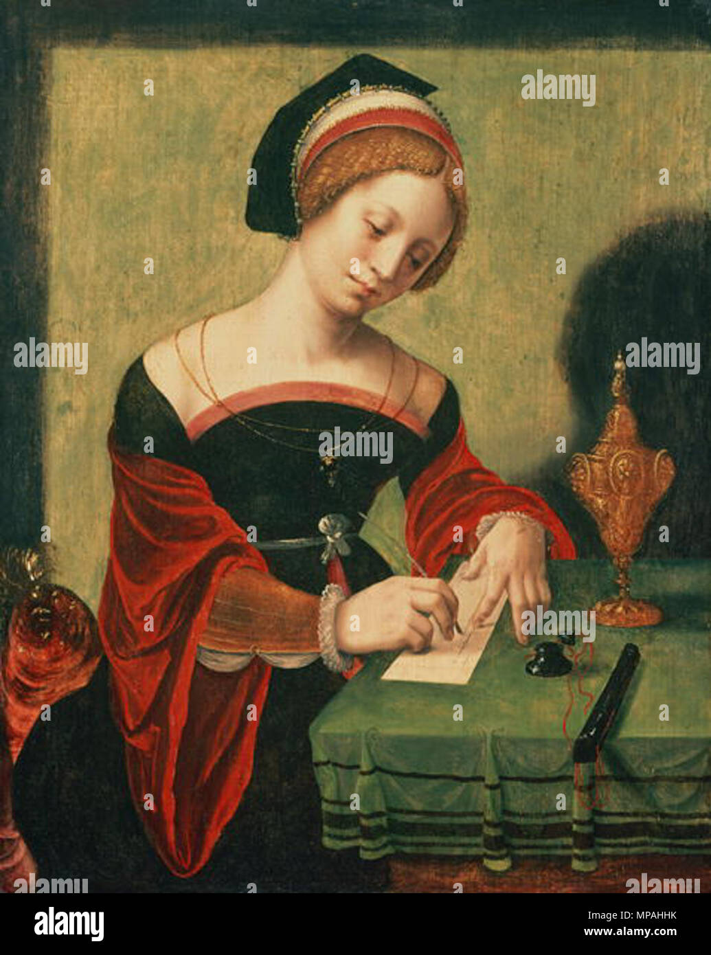 . Portrait of a Lady as the Magdalen . 16th century.   871 Master of the Female Half Lengths M writing - Stock Image