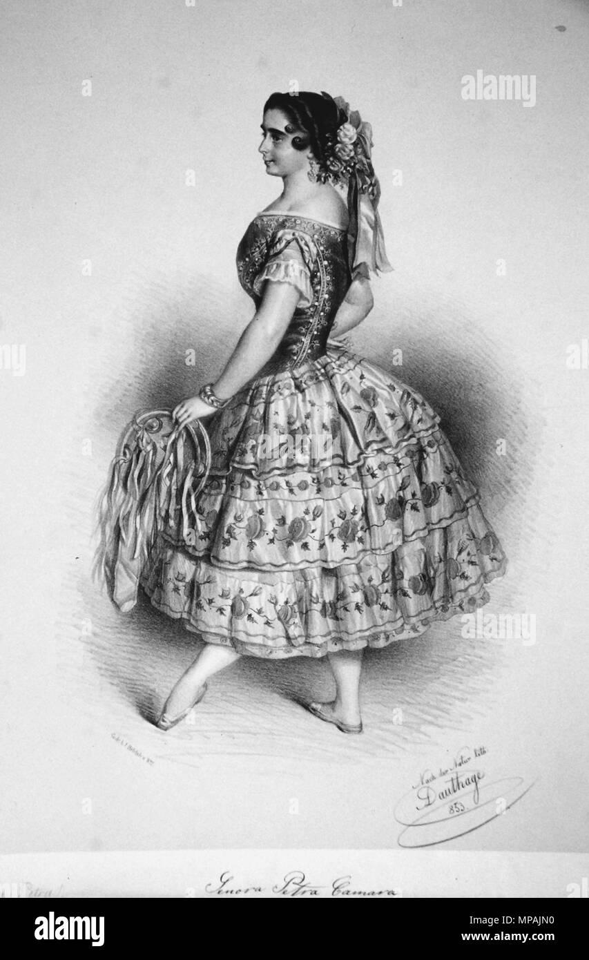 OLYMPUS DIGITAL CAMERA    . Deutsch: Petra Camara, um 1850 berühmte spanische Tänzerin. Lithographie von Adolf Dauthage, 1853 . 1853. Adolf Dauthage (1825-1883) 979 Petra Camara 2 Litho - Stock Image