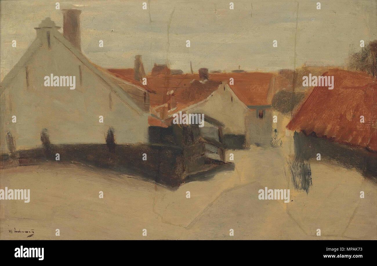 English: Street in Scheveningem Deutsch: Straße in Scheveningen   1891.   877 Max Liebermann - Strasse in Scheveningen - Stock Image