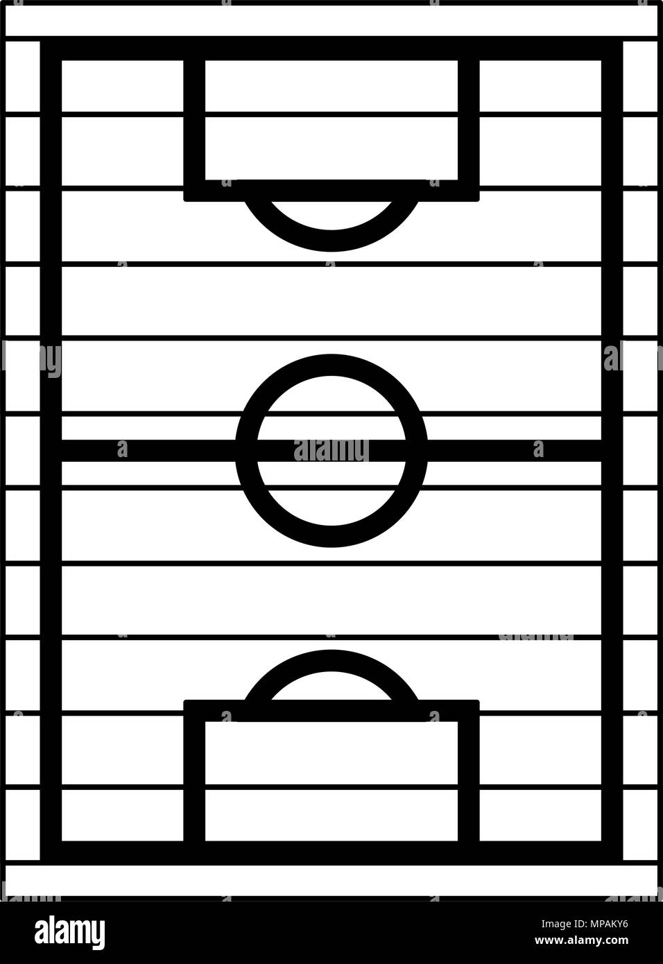 Soccer Field Topview In Black And White Colors Stock Vector