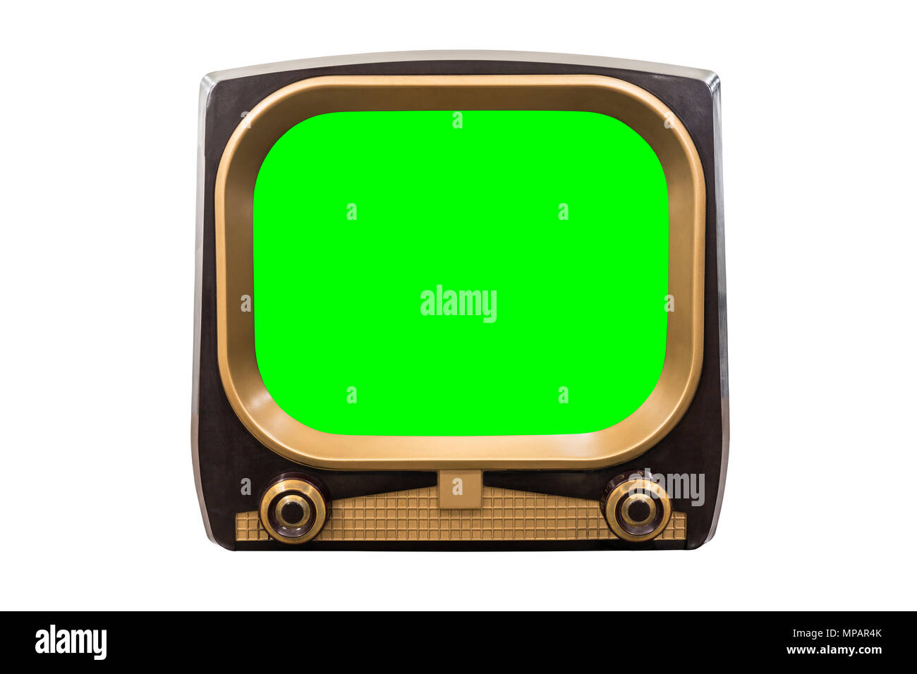 Retro 1950s television isolated on white with chroma green screen. - Stock Image