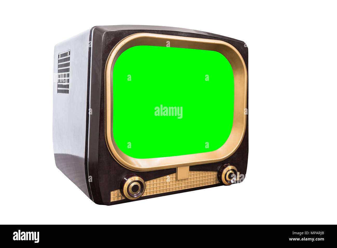 Retro 1950s television isolated on white with chroma green screen and clipping path. - Stock Image