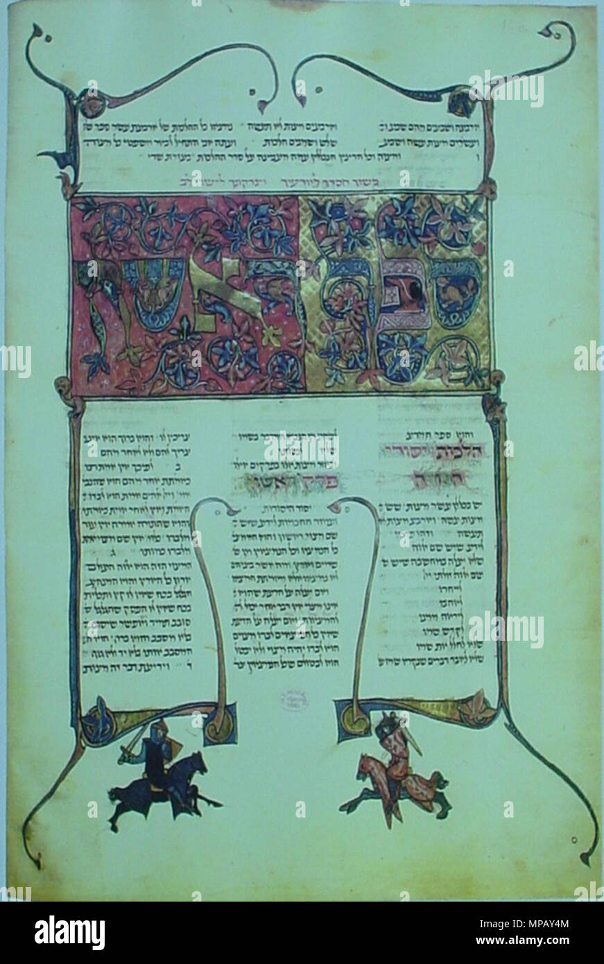 . English: Facsimile of a page with a decorated title-panel of Sefer ha-Mada (Book of Knowledge) from the first book of the Mishneh Torah, Germany, 1295-96. The illustrations are not related to the text; notice the two knights in combat at the bottom. Library of the Hungarian Academy of Sciences, Budapest, Ms. Kaufmann A77/I, 16v, [Ex. No. 67] . 1296. Unknown 909 Ms. Kaufmann A77-I, 16v - Stock Image