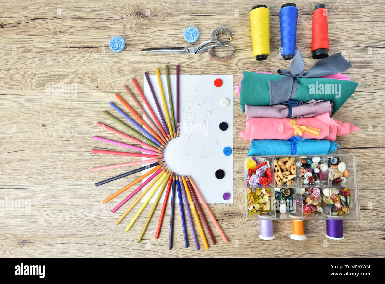 Fashion Design Tools For Sewing On Wooden Background Top View Stock Photo Alamy