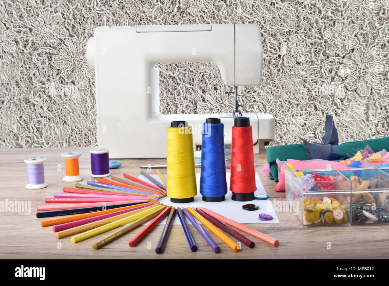 Fashion Design Tools For Sewing On Wooden Background Stock Photo Alamy