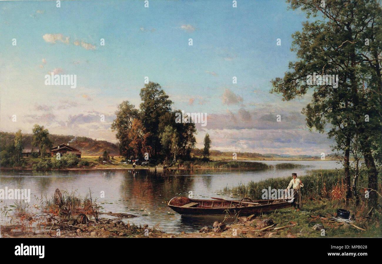 912 Munsterhjelm, Hämäläinen järvimaisema - Stock Image