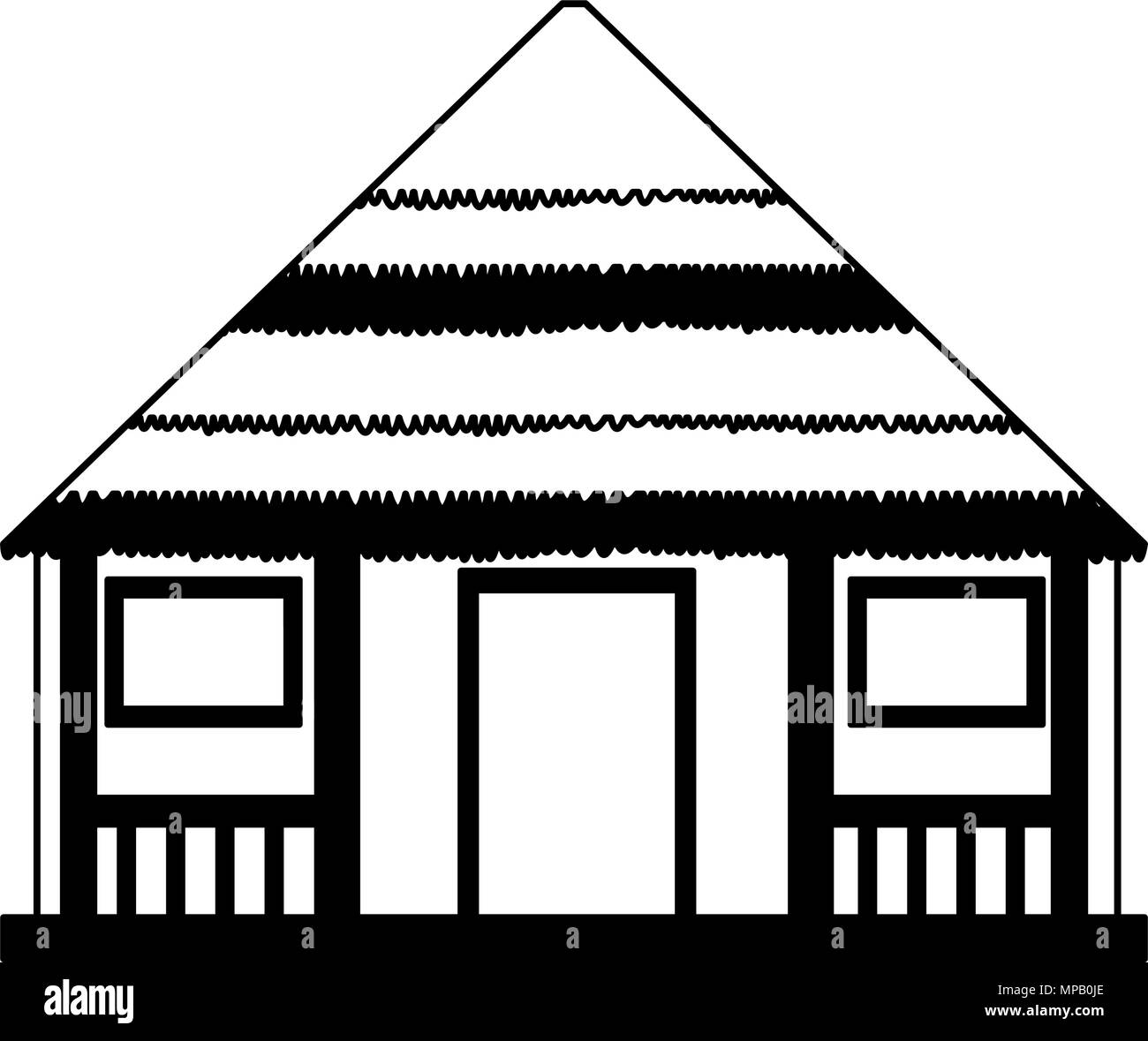 Wooden house isolated in black and white - Stock Vector