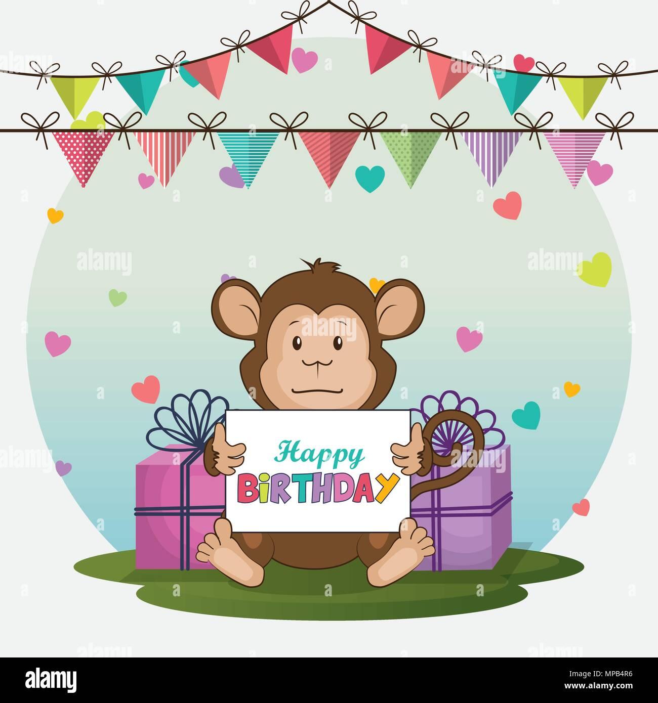 Happy Birthday Card With Cute Monkey