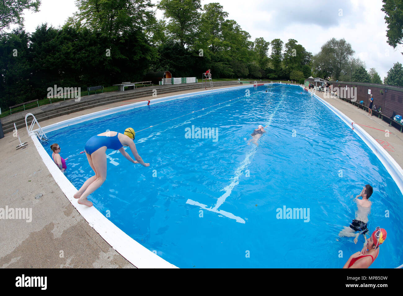 The cambridge lido the longest in europe on jesus green opens for the summer season stock photo for Jesus green swimming pool cambridge
