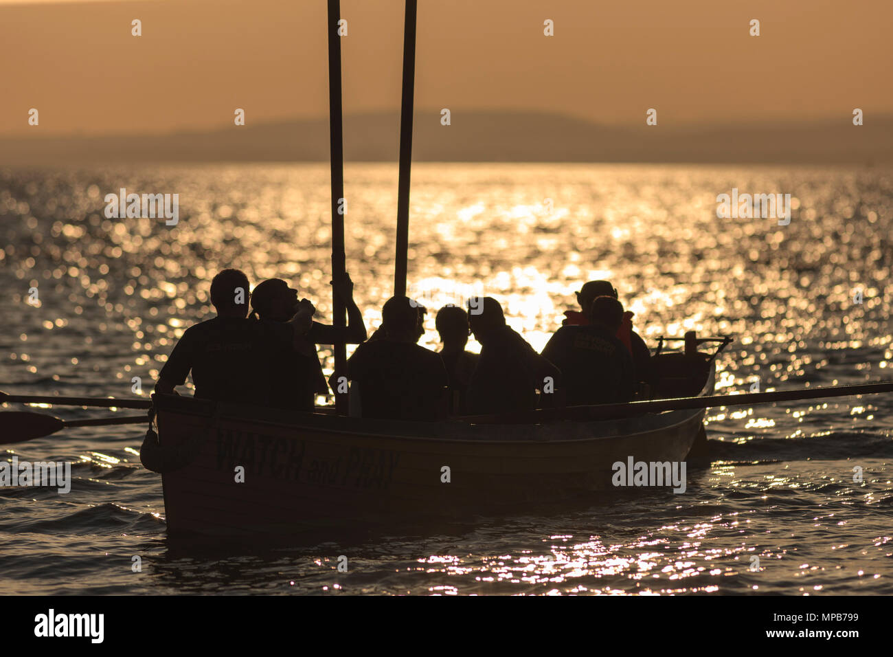Clevedon Piloy Gig Club training in the Bristol Channel. - Stock Image