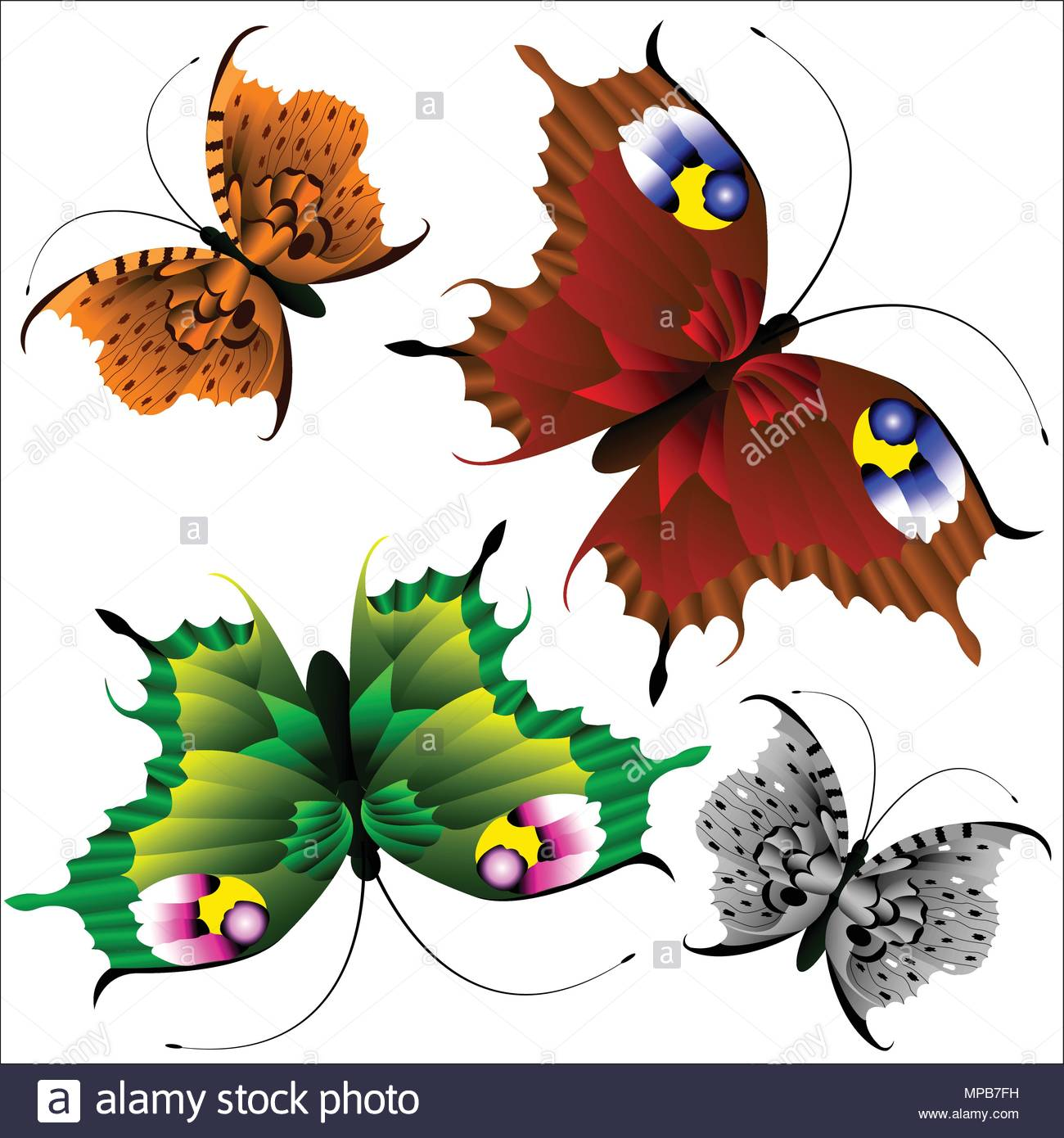 Set of beautiful multi-colored butterflies on a white background. - Stock Vector