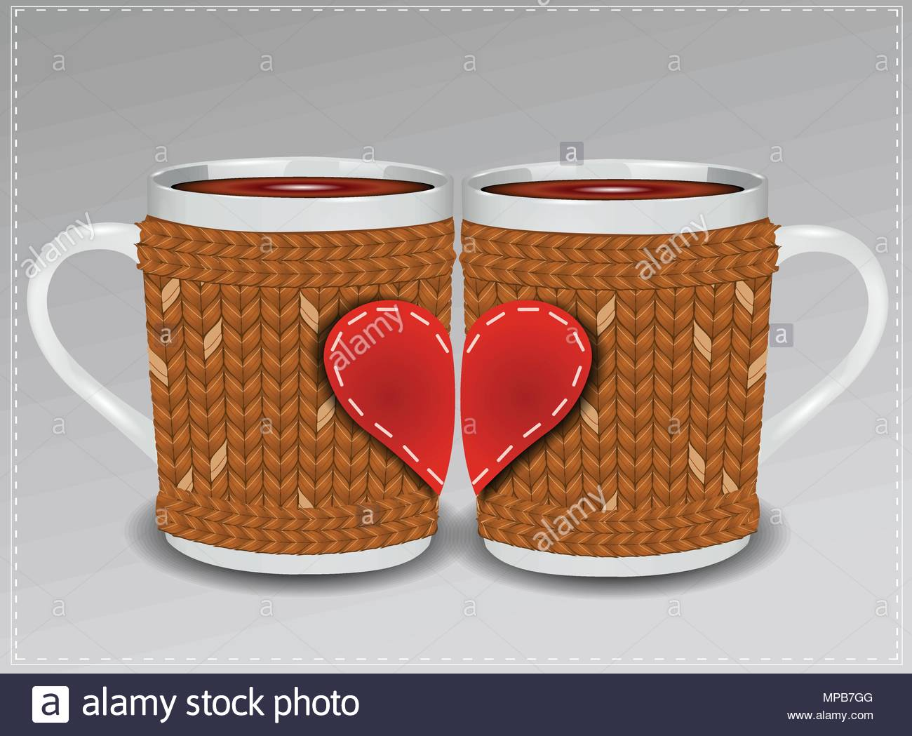 Two cups in a sweater decorated with hearts. Valentine's Day. Stock Vector