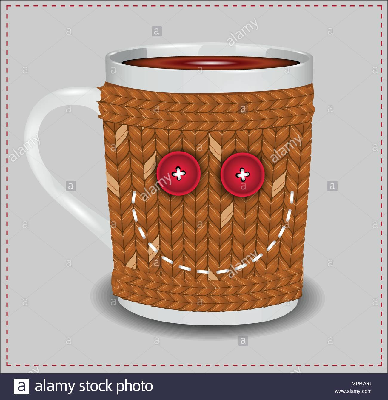 Funny cup in a sweater with buttons and thread embroidered smile - Stock Vector