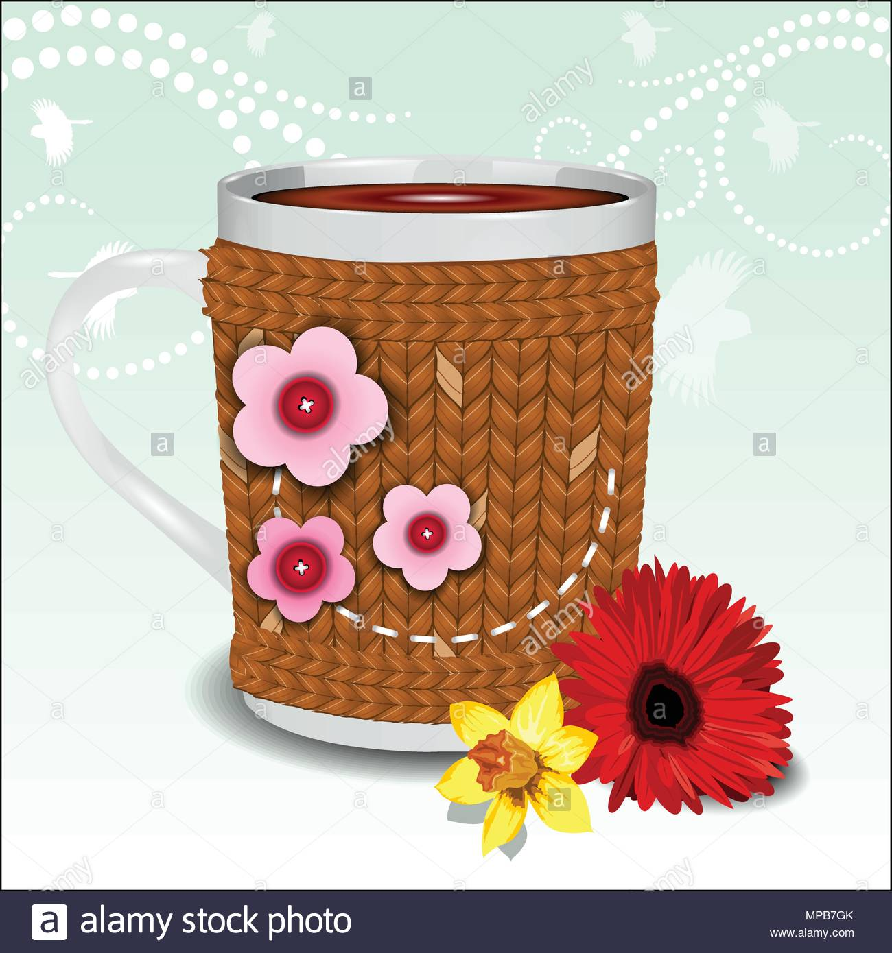 Cute cup in a sweater decorated with flowers - Stock Vector