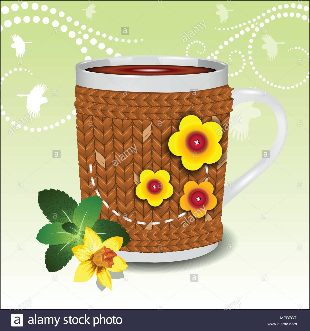 Cute cup in a sweater decorated with flowers Stock Vector