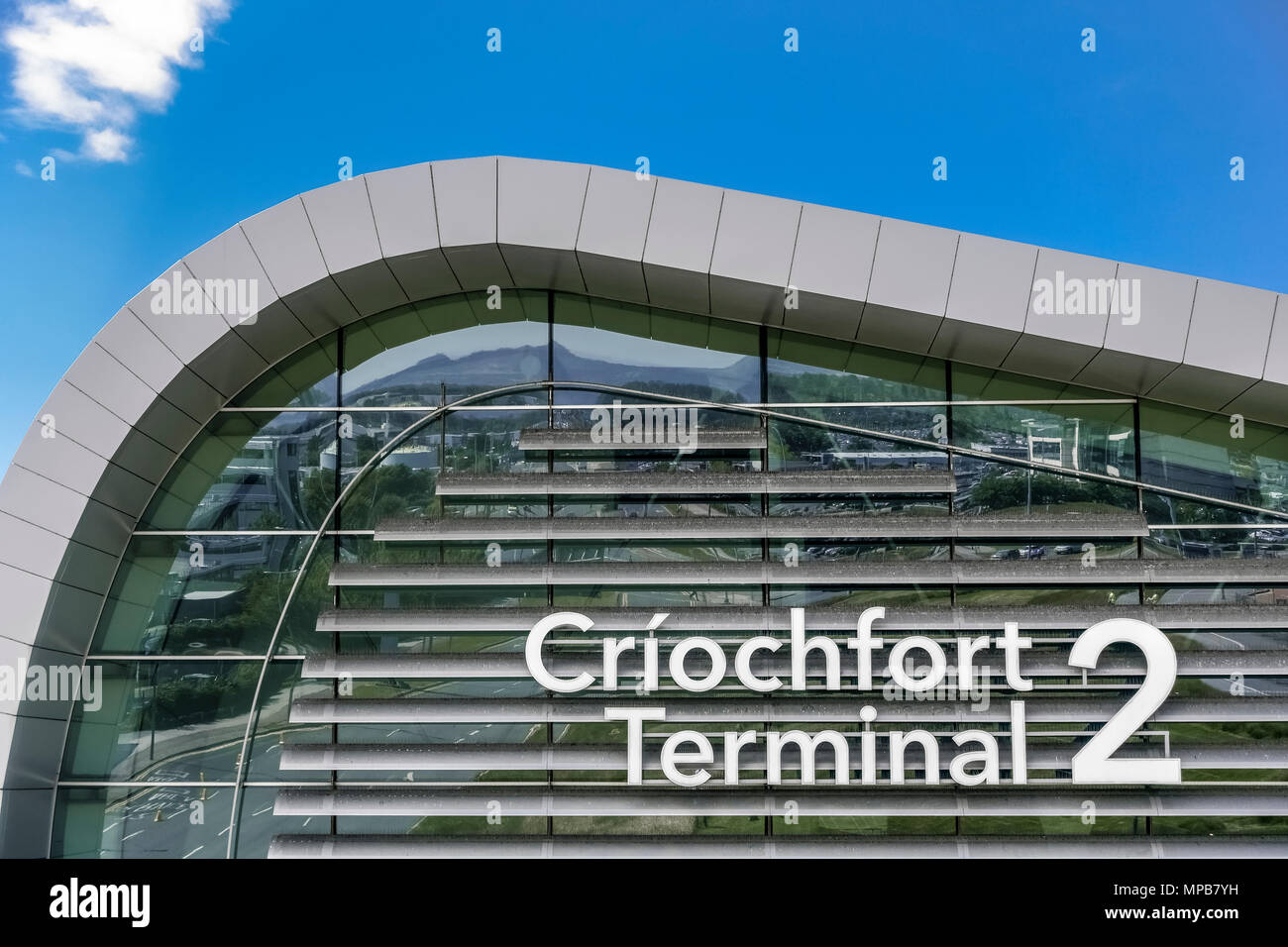 New Terminal 2, T2 Criochfort Dublin Interenational Airport, by architects Pascall & Watson. Blue sky, copy space, close up. Ireland, European Union Stock Photo