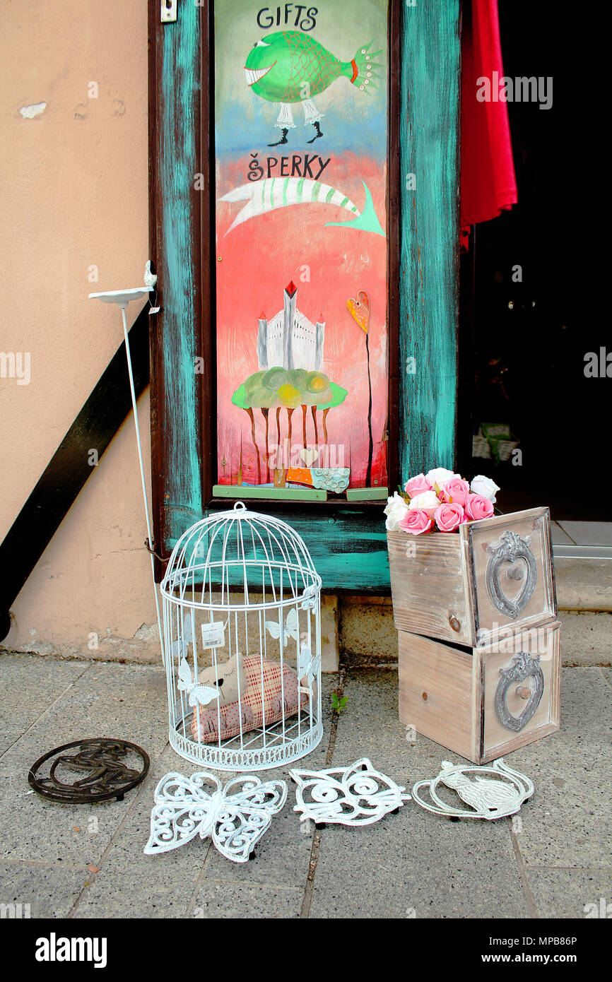 Decoration Still Life Made Of Vintage Bird Cage Wooden Boxes With