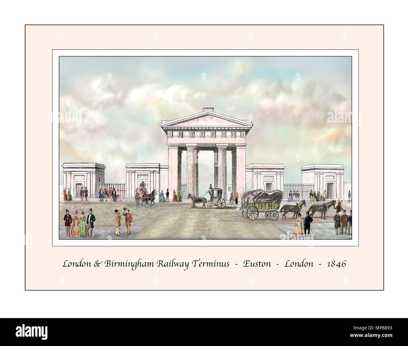 Euston Station London Original Design based on a 19th century Engraving Stock Photo