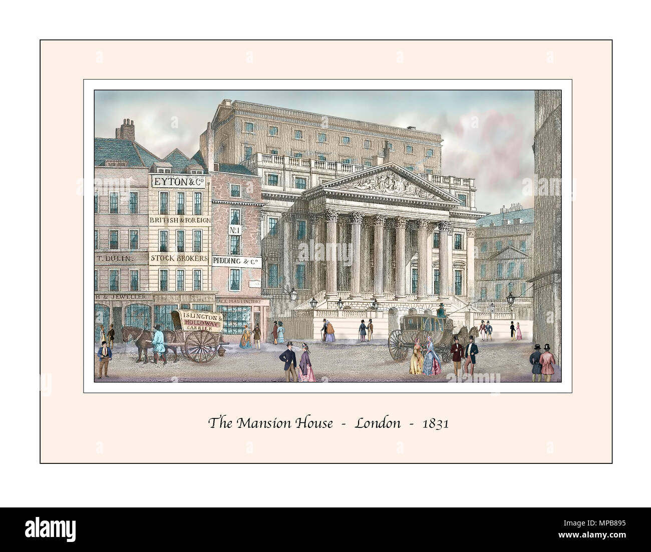 The Mansion House London Original Design based on a 19th century Engraving - Stock Image