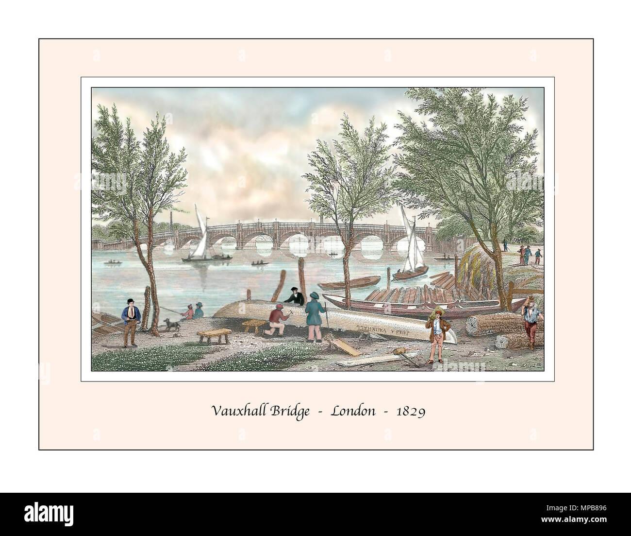 Vauxhall Bridge London Original Design based on a 19th century Engraving - Stock Image