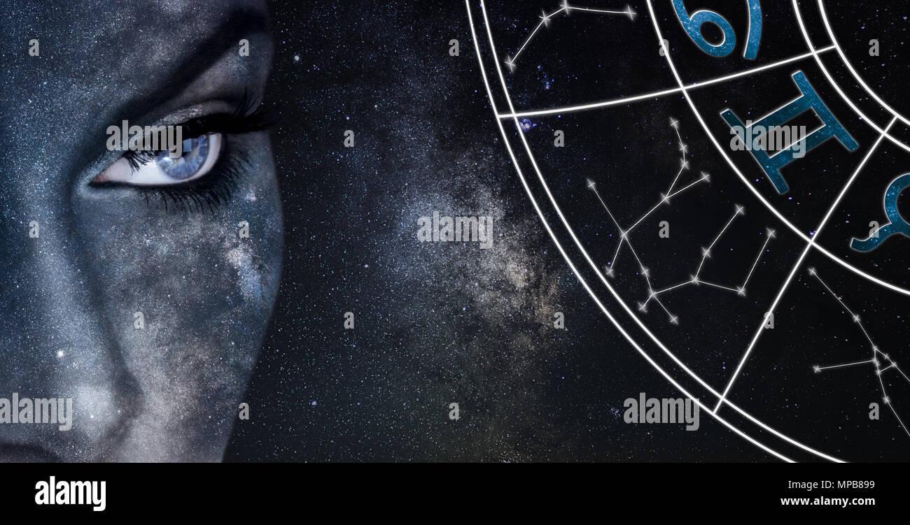 Gemini Horoscope Sign Astrology Women Night Sky Background
