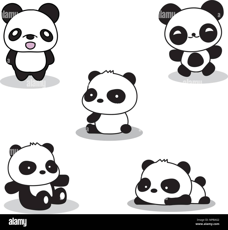 set of cute funny cartoon pandas stock vector art illustration rh alamy com Cute Cartoon Panda Wallpaper Cute Cartoon Pandas with Mustaches