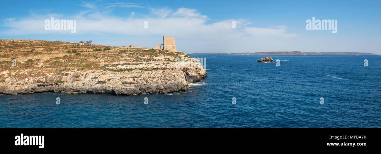 Seascape panorama from at Gozo island, Malta, EU - Stock Image