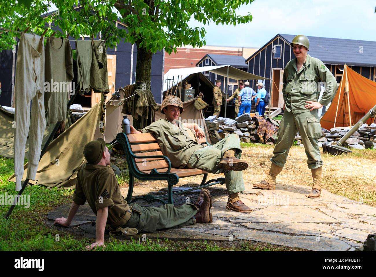 Carlisle, PA, USA - May 20, 2018: WWII Army soldier