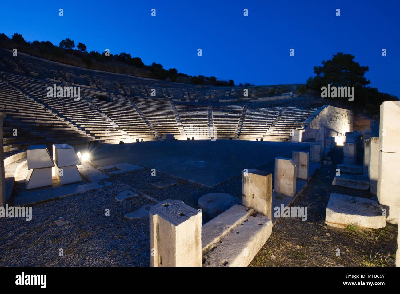 Amphitheatre; Halikarnassos, Bodrum, Mugla, Turkey, Asia / Bodrum | Amphitheater; Halikarnassos; Antike, Alte Griechen, Altes Griechenland, Bodrum, Mu - Stock Image