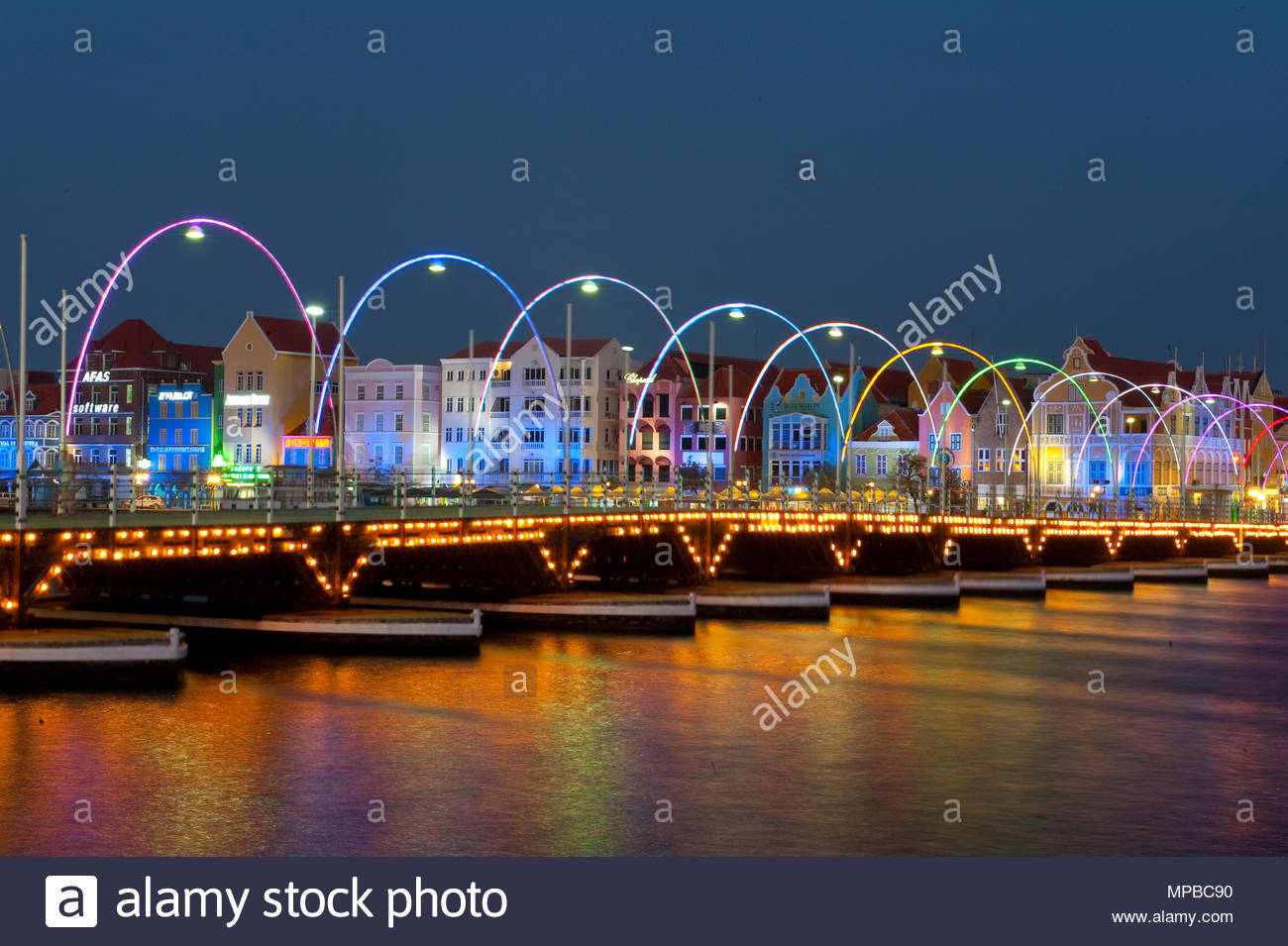 Willemstad, Curacao, Queen Emma bridge | Königin Emma Brücke - Stock Image