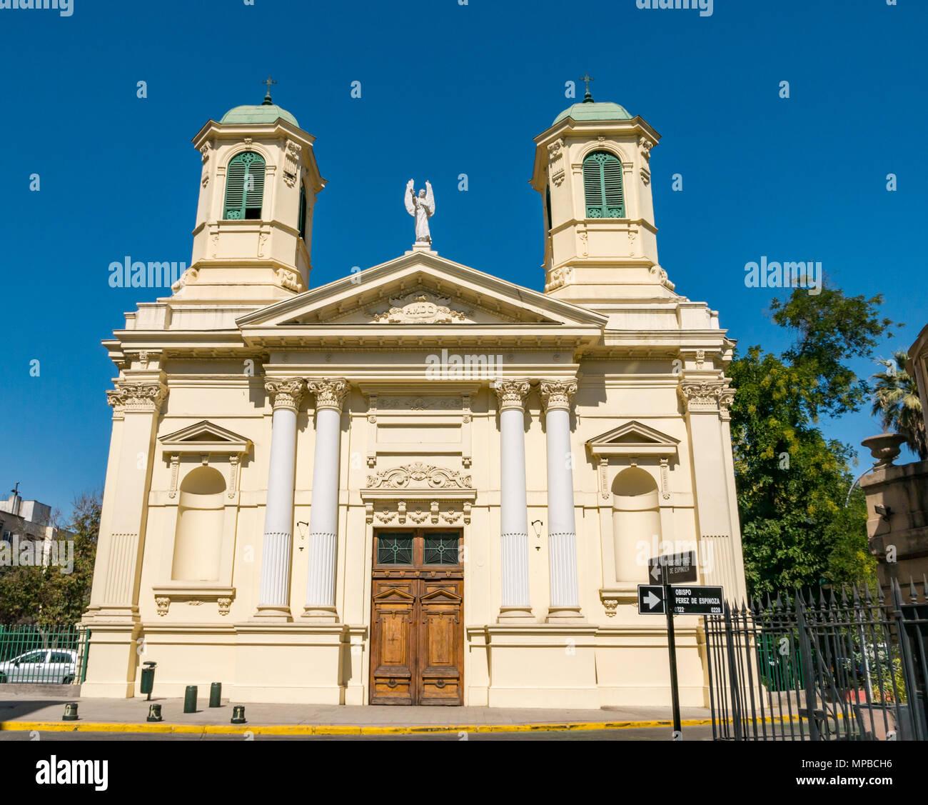 Historic yellow Holy Guardian Angels parish Catholic church