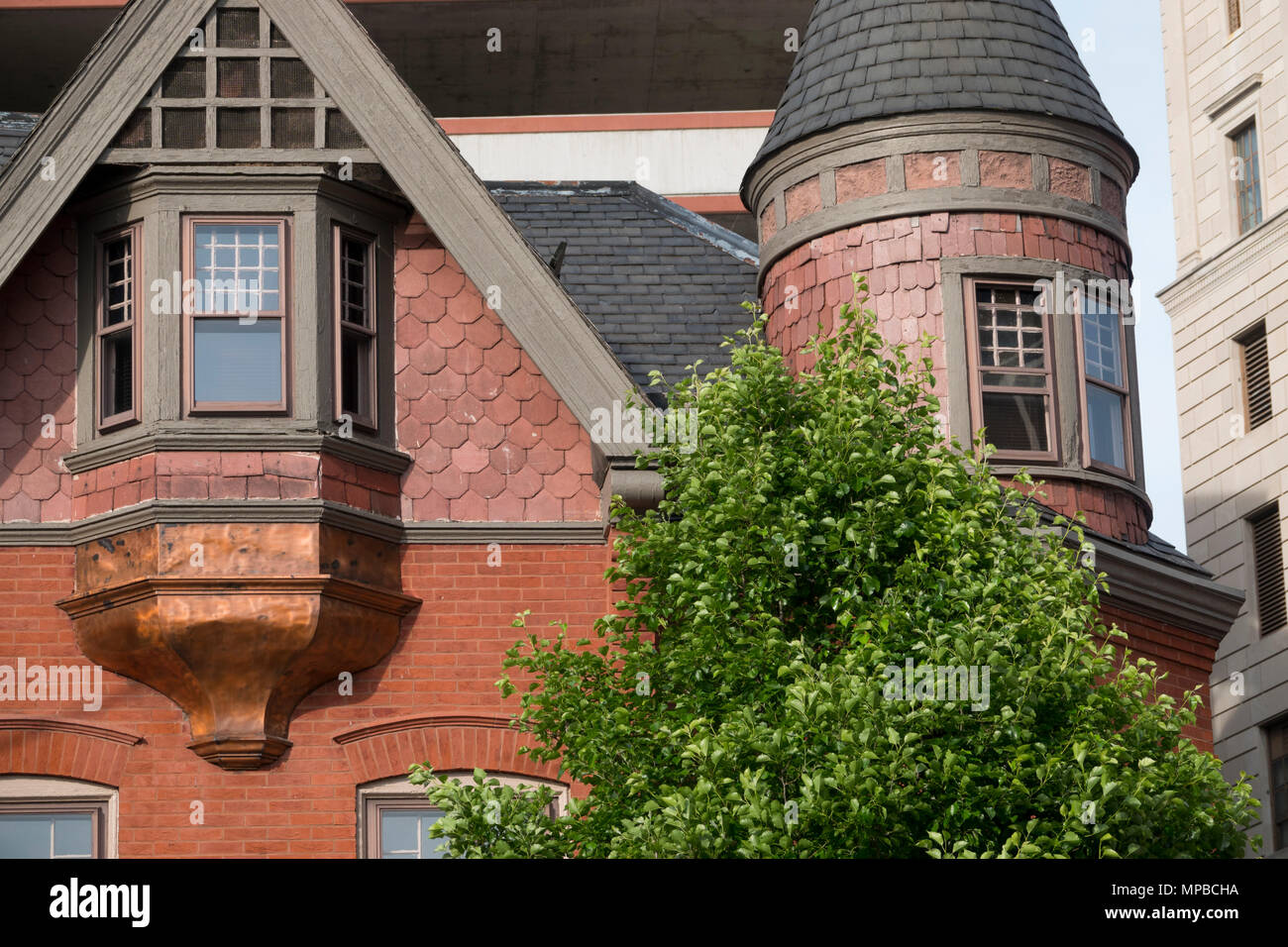 USA Pennsylvania PA Harrisburg bay windows on old home from around the turn of the 20th century - Stock Image