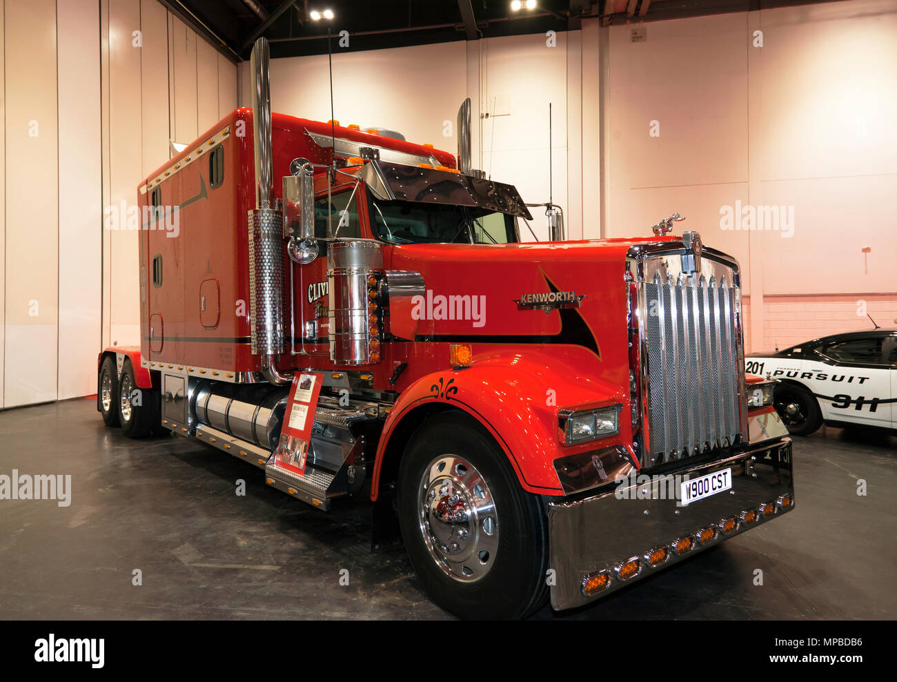 A 2002, Kenworth  W900L 'Big Rig', on display at the 2018 London Motor Show - Stock Image