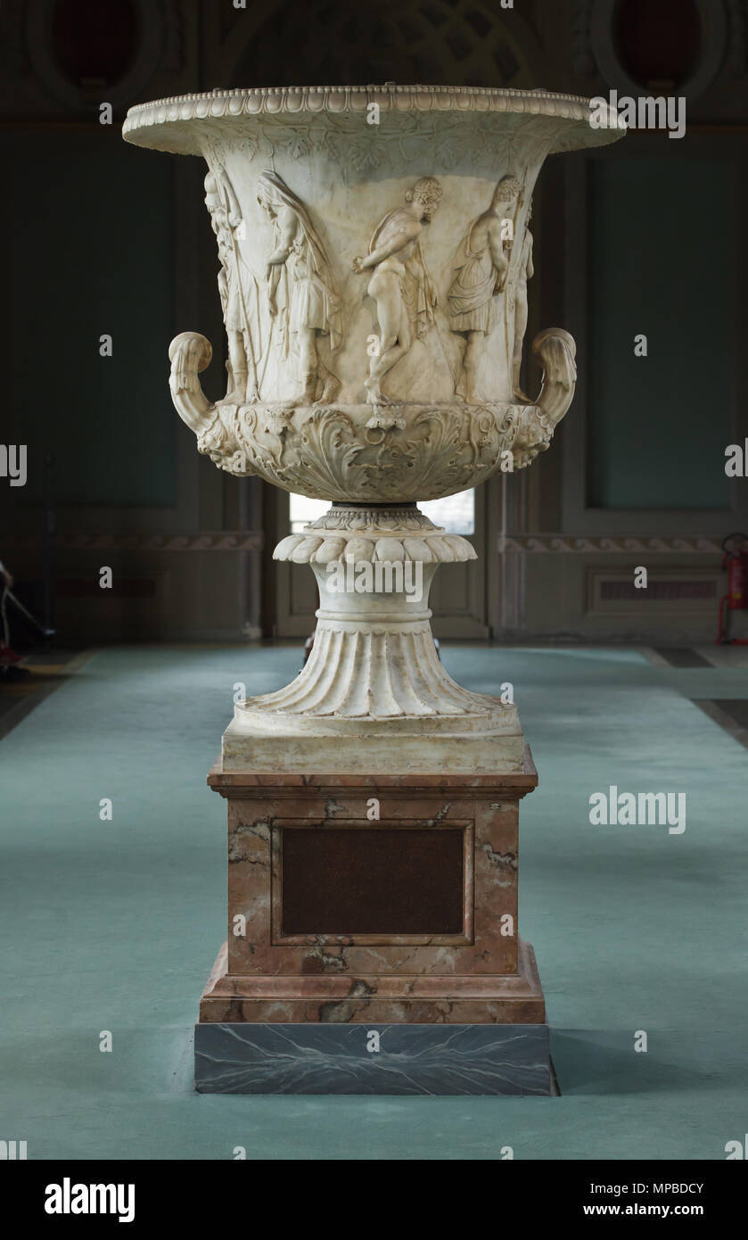 Medici Vase (Medico Vessel) from the second half of the 1st century BC on display in the Uffizi Gallery (Galleria degli Uffizi) in Florence, Tuscany, Italy. Greek heroes consulting the oracle of Delphi before leaving for the Trojan War are depicted in the marble crater. - Stock Image