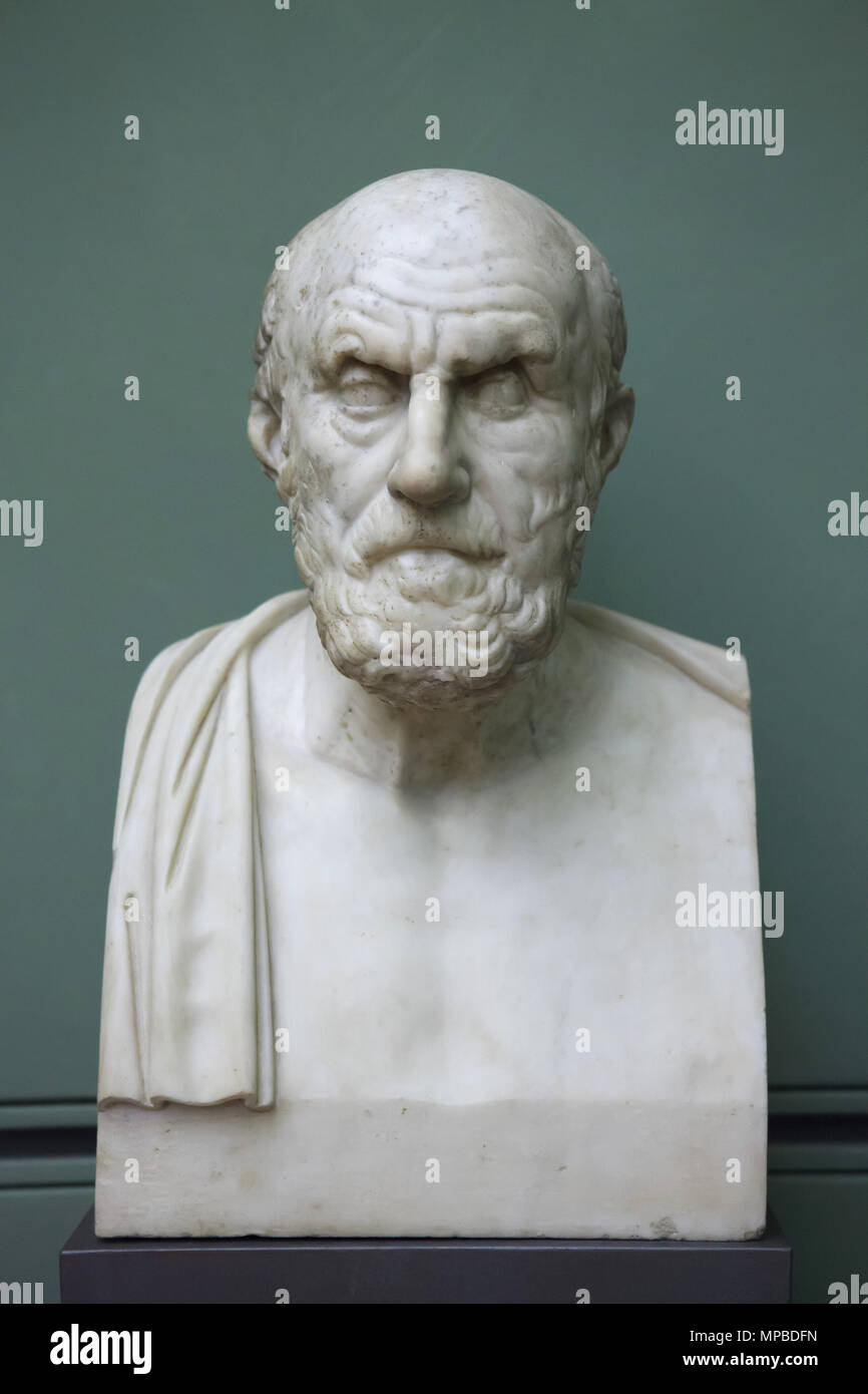 Greek Stoic philosopher Chrysippus of Soli (279-206 BC). Roman marble copy from the 1st or 2nd century AD after a Greek original from 208-204 BC on display in the Uffizi Gallery (Galleria degli Uffizi) in Florence, Tuscany, Italy. - Stock Image