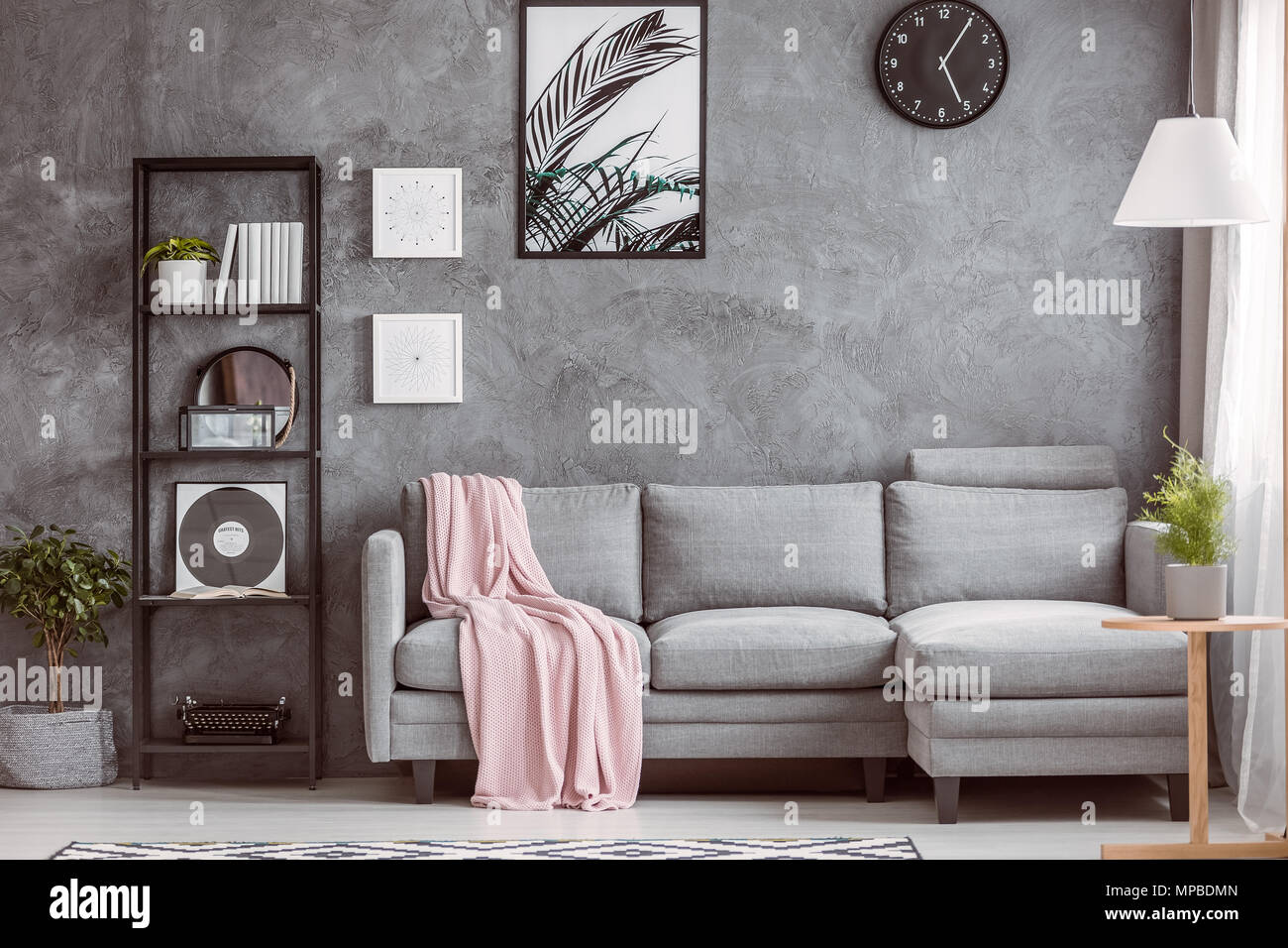 Excellent Stylish Living Room With Comfortable Grey Corner Sofa Small Beatyapartments Chair Design Images Beatyapartmentscom