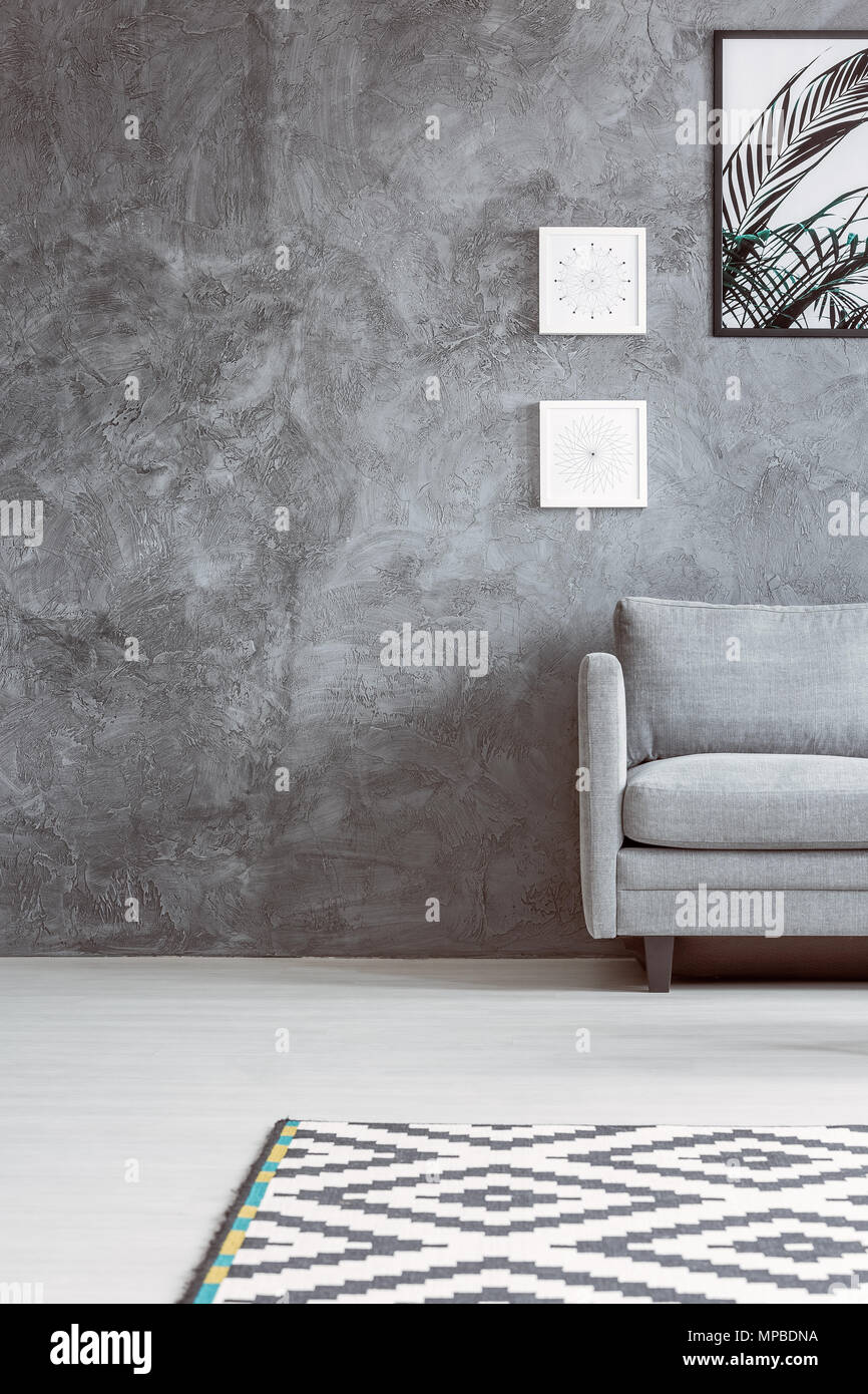 Grey Sofa In Monochromatic Living Room With Black And White Carpet And  Posters On Concrete Wall