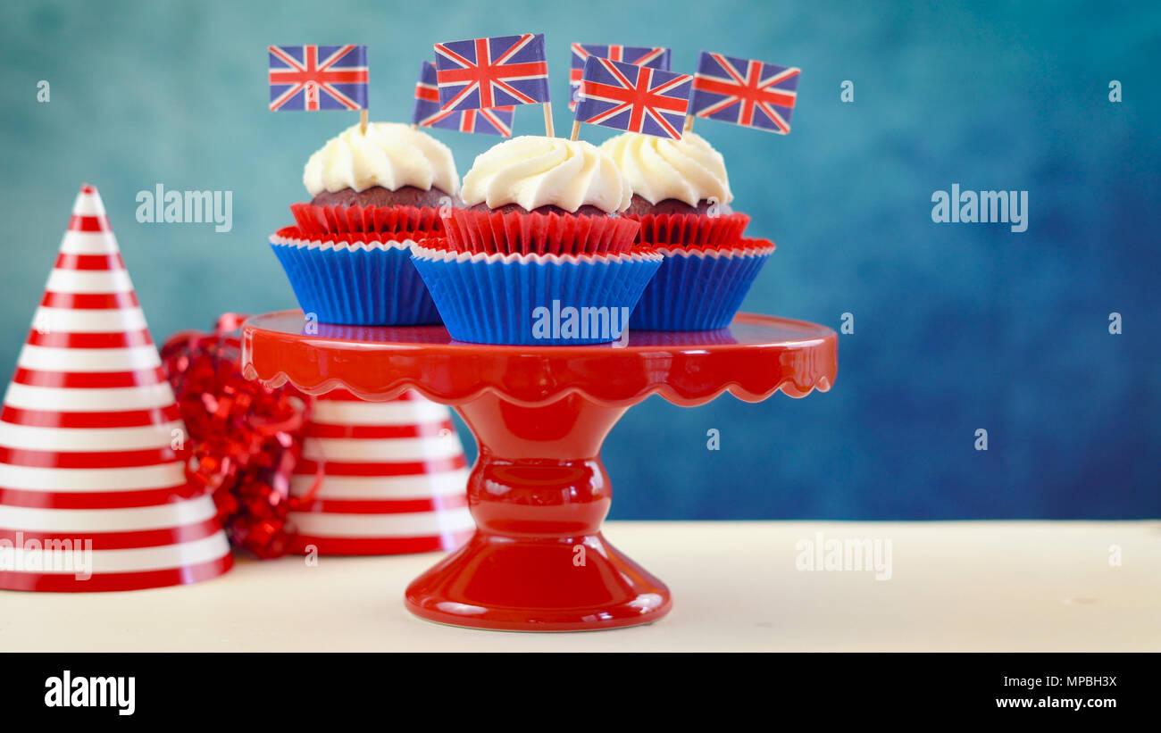 Red White And Blue Theme Cupcakes And Cake Stand With Uk Union Jack