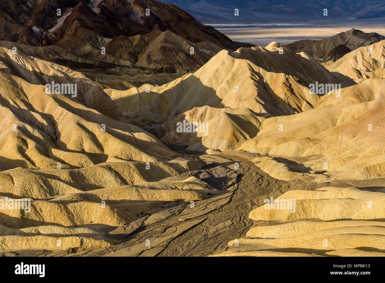 Sunrise Golden Valley - Golden morning sunlight shining on a colorful valley at the Badlands of Death Valley National Park, California, USA. Stock Photo