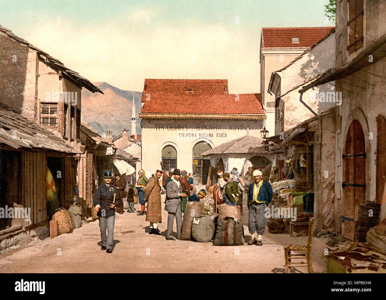 Mostar, Cafe Luft, Herzegowina, Austro-Hungary - Stock Image