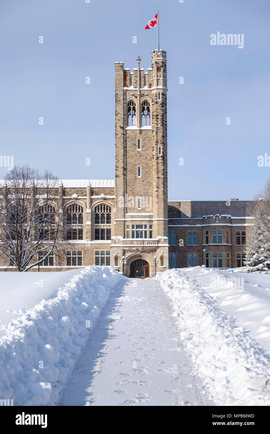 University College Building at Western University after a heavy winter snowfall, London, Ontario, Canada. Stock Photo