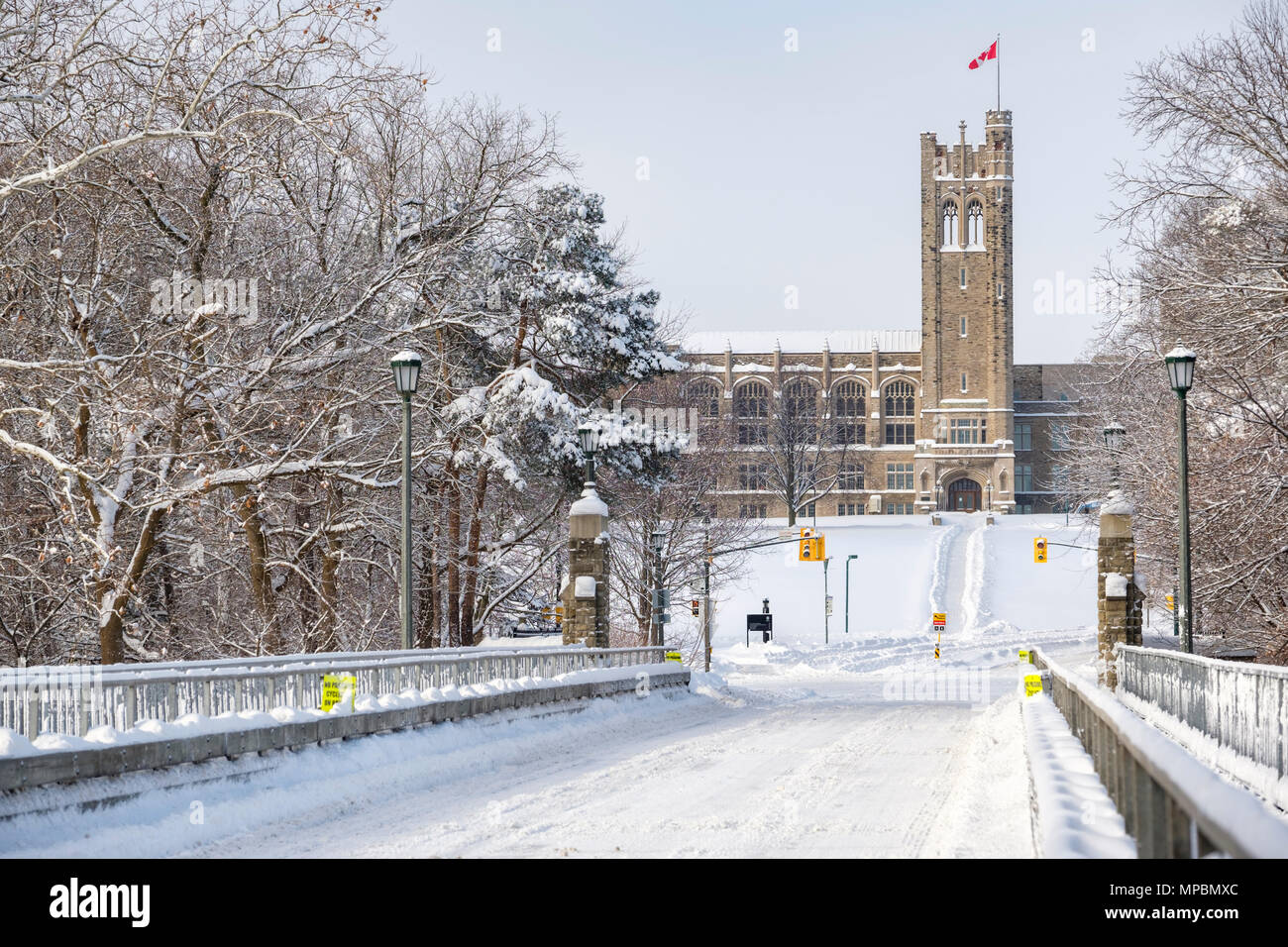 University College Building at Western University after a heavy winter snowfall, London, Ontario, Canada. - Stock Image