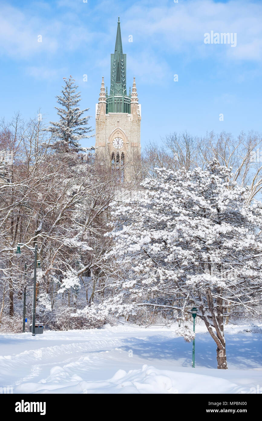 Middlesex College Building tower at Western University after a heavy winter snowfall, London, Ontario, Canada. - Stock Image