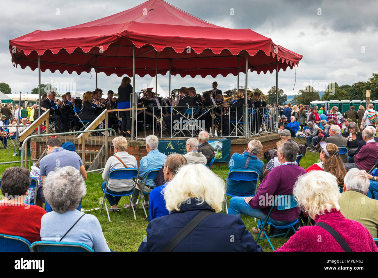Bandstand and spectators at Stokesley Show, North Yorkshire, England, UK - Stock Image