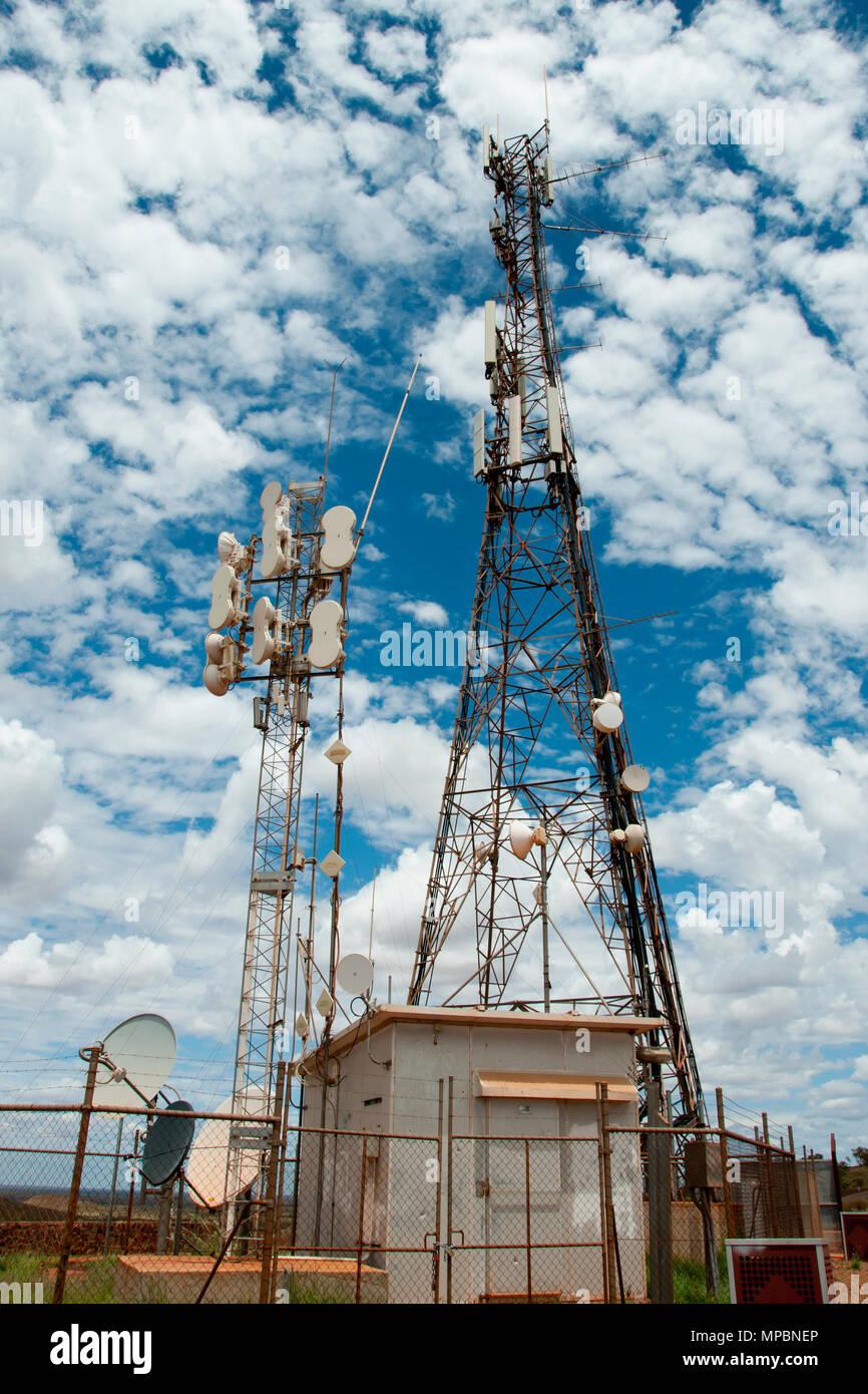 Radio Hill Communication Towers - Newman - Australia Stock Photo