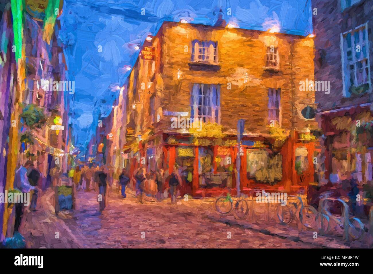 Digital painting of people at night in the Temple Bar district in Dublin . The Temple bar district is worldfamous for it - Stock Image
